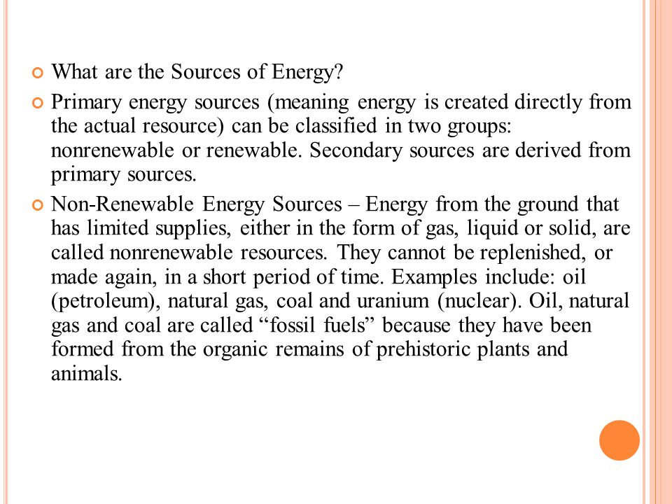 What are the Sources of Energy