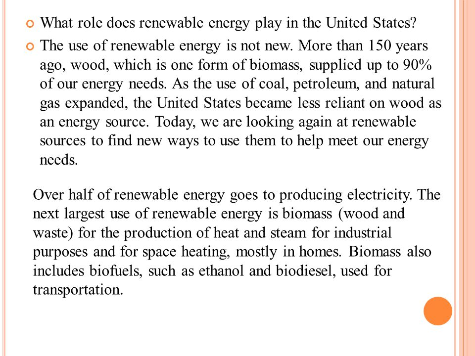 What role does renewable energy play in the United States