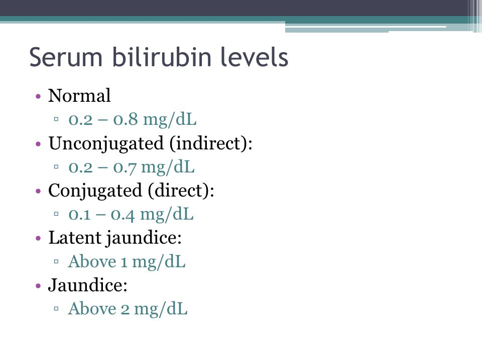 Serum bilirubin levels