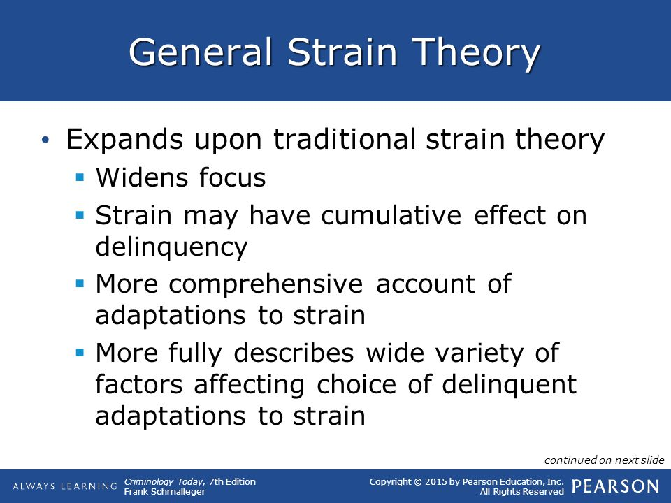 criminology delinquency and crime the general strain theory The (2009) applies merton's strain theory to explain rising crime rates during a period of economic growth in malaysia, suggesting we can apply this theory to developing countries and that a 'general theory of crime' may thus be possible.