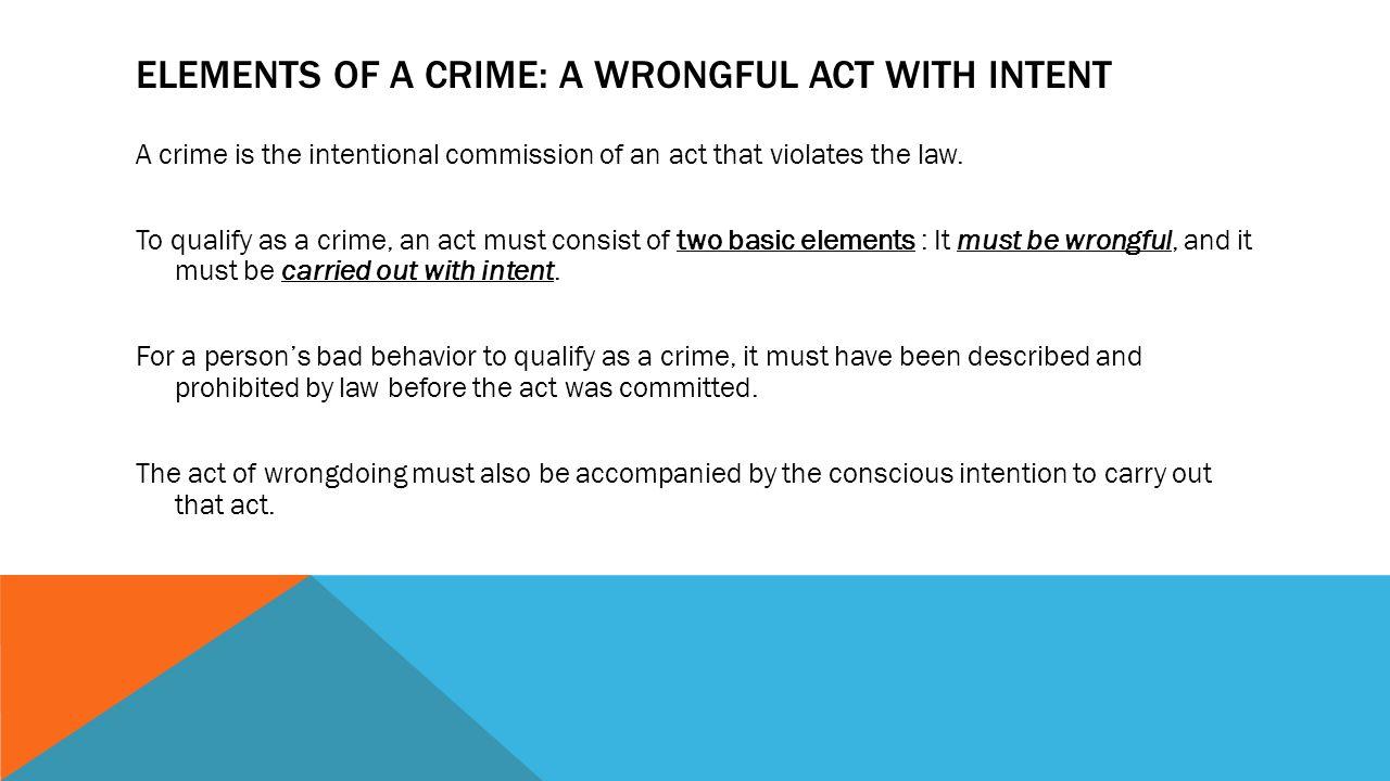 elements of a crime criminal