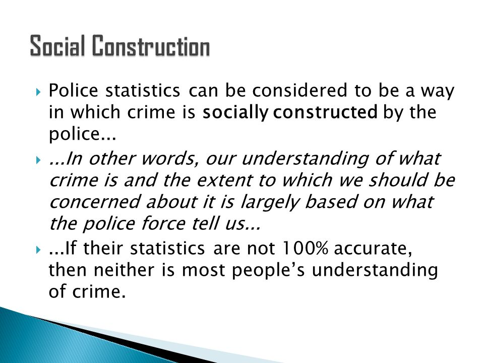 crime is socially constructed by society essay Defining crime and deviance -a crime is an illegal act  does not conform to a society's norms  police recorded crime stats are 'socially constructed.