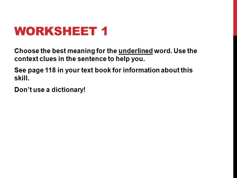 Chapter 122 Context Clues ppt download – Context Clue Worksheet