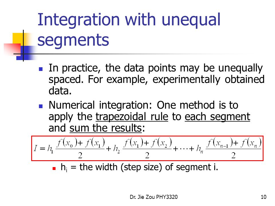 Integration with unequal segments