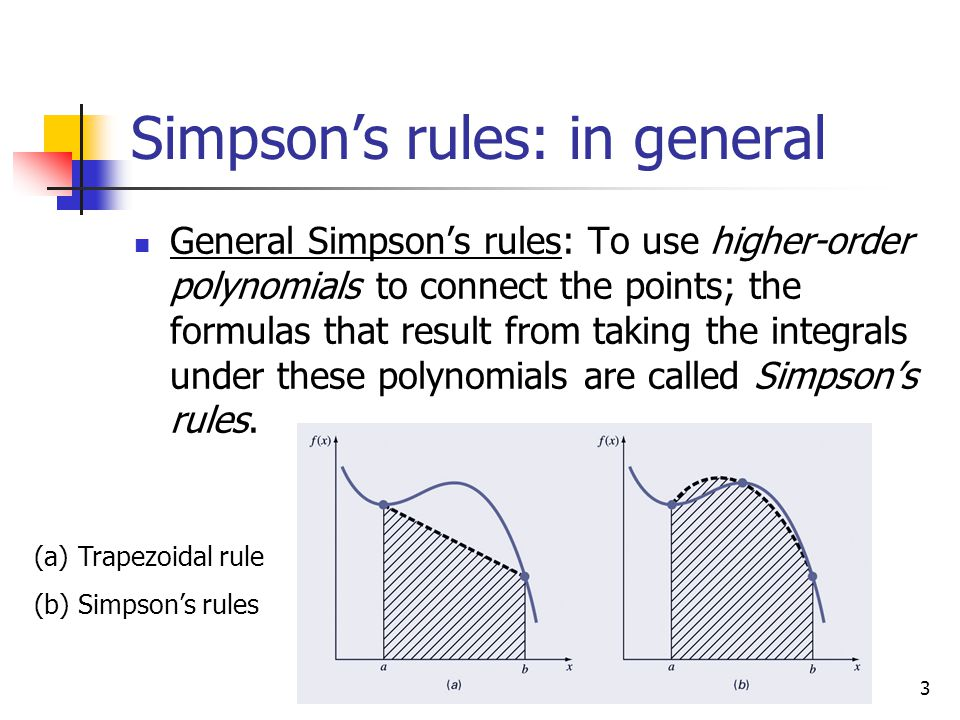 Simpson's rules: in general