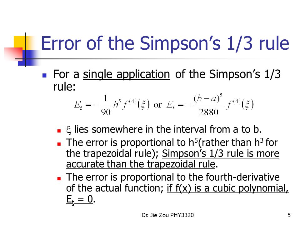 Error of the Simpson's 1/3 rule