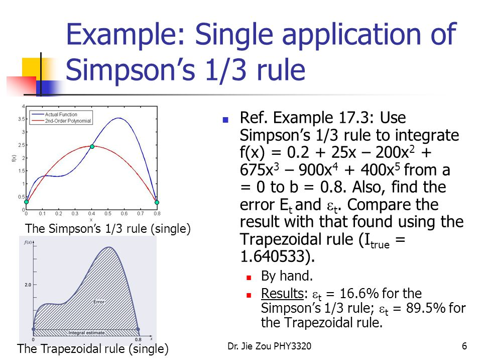 Example: Single application of Simpson's 1/3 rule