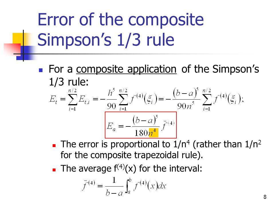 Error of the composite Simpson's 1/3 rule