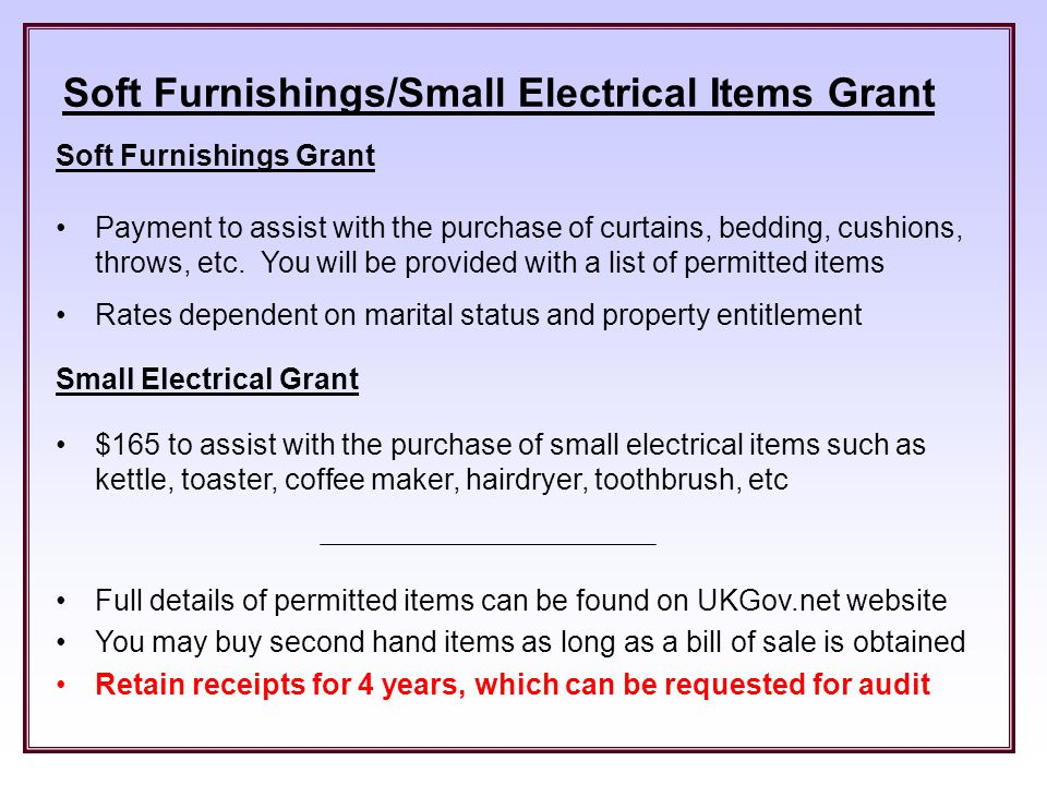 Soft Furnishings Small Electrical Items Grant