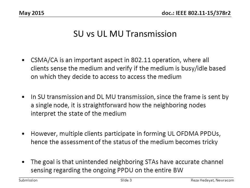 SU vs UL MU Transmission