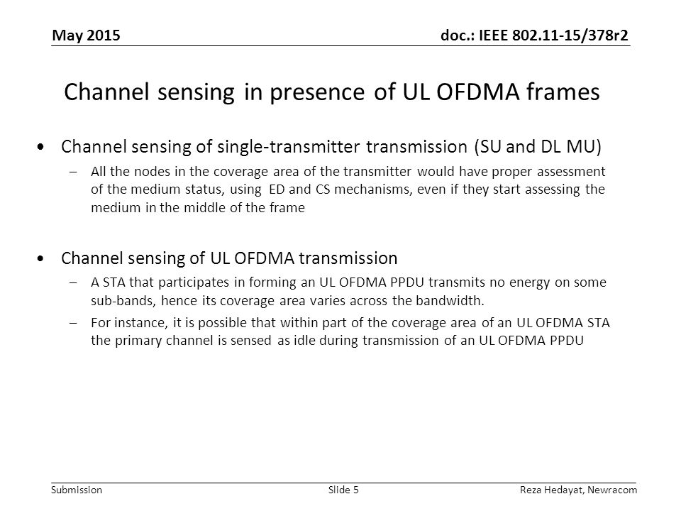 Channel sensing in presence of UL OFDMA frames
