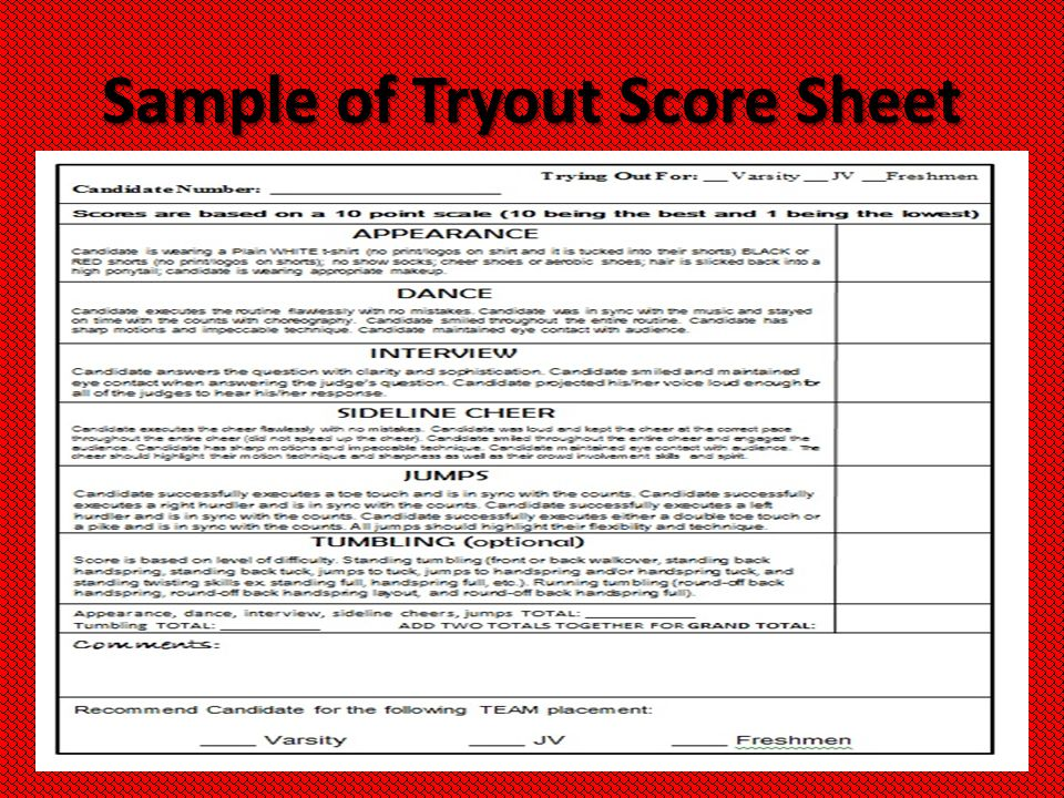 PSHS Cheer Information Meeting ppt download – Cheerleading Tryout Score Sheet