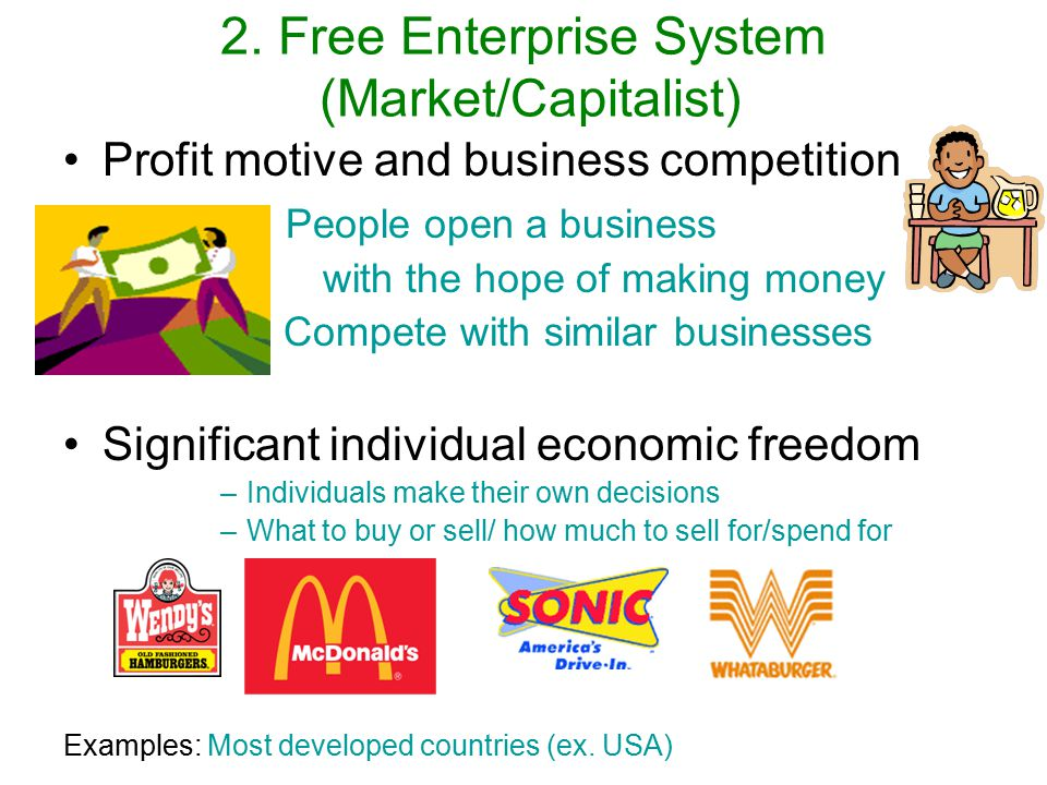 the role of profits in the free enterprise system Free enterprise is based on a principle known as the free market system  self- interest, profits, competition, and the right to own private property are the key.