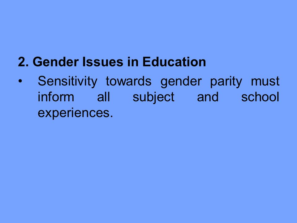 2. Gender Issues in Education