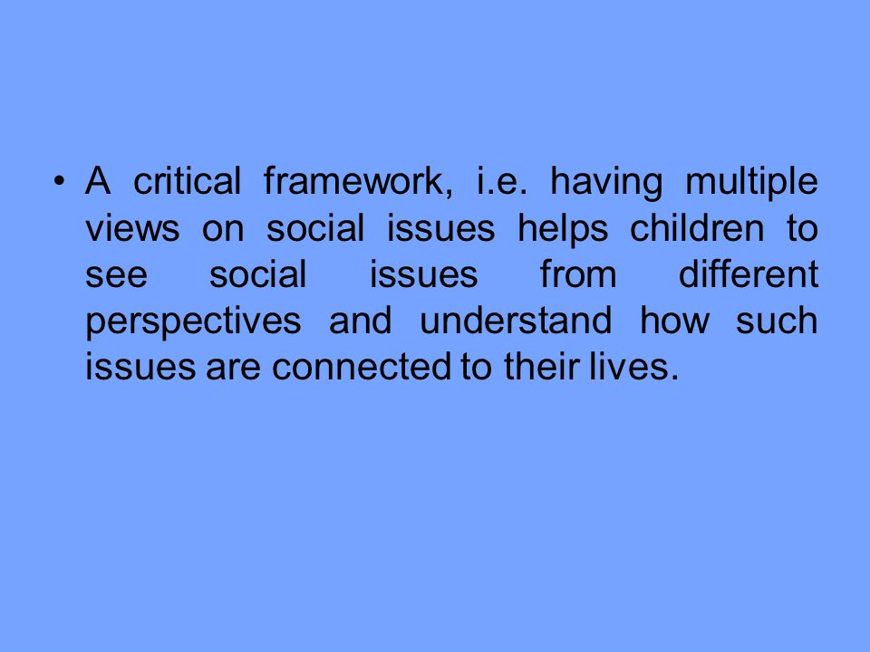 A critical framework, i. e