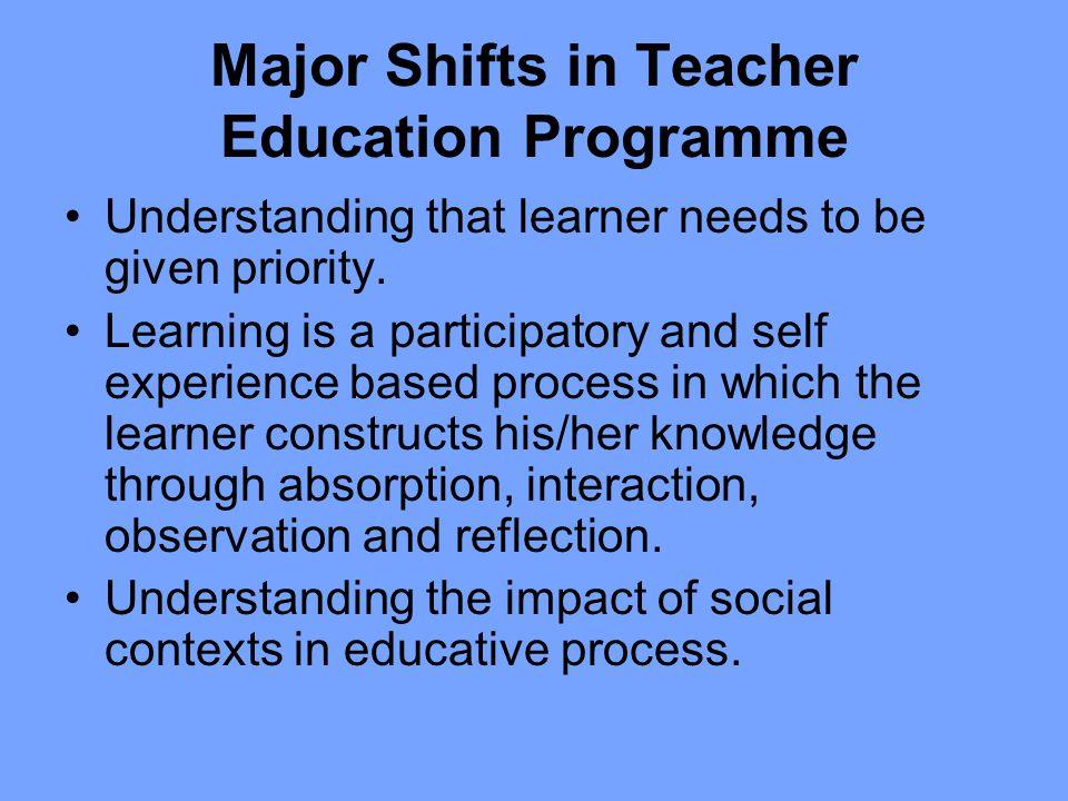 Major Shifts in Teacher Education Programme