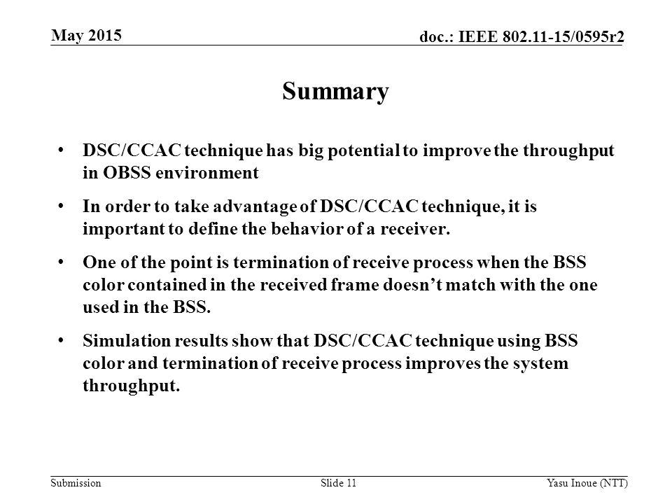 Month Year Doc Title. May Summary. DSC/CCAC technique has big potential to improve the throughput in OBSS environment.