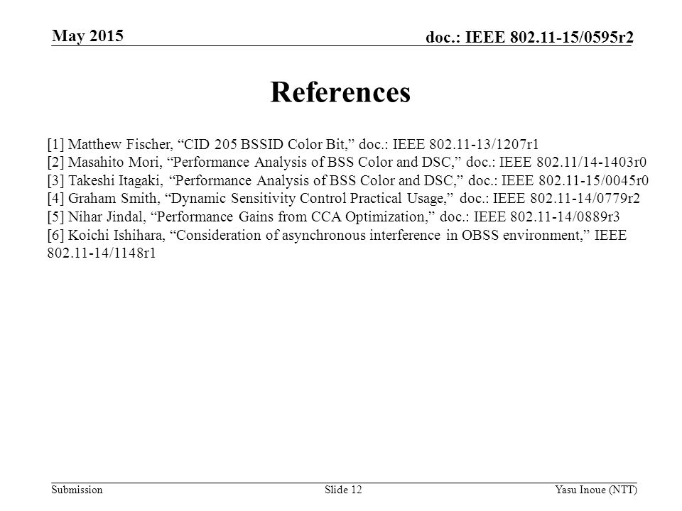 May 2015 References. [1] Matthew Fischer, CID 205 BSSID Color Bit, doc.: IEEE /1207r1.