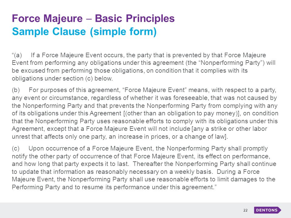 effect of force majeure act of These will affect the particular language of  in england, force majeure, without  more, means acts  like other provisions of a lease, force majeure clauses.