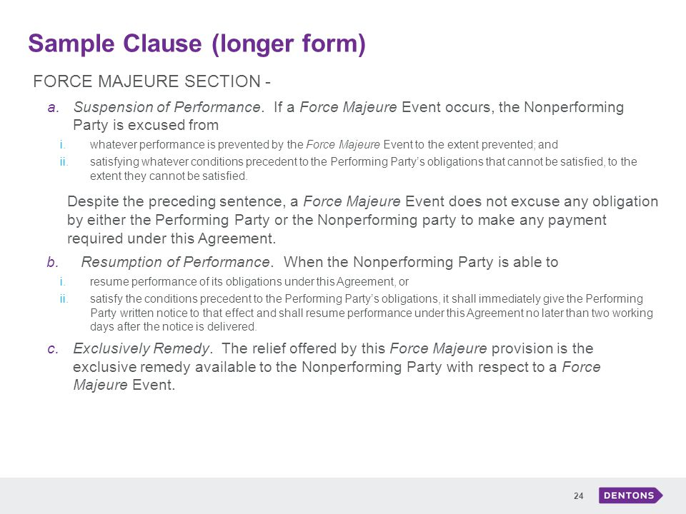 Buried in the boilerplate ppt download 24 sample clause longer form force majeure pronofoot35fo Image collections