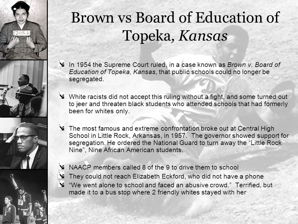 brown vs board of education case Linda brown, who as a little girl was at the center of the brown v board of education case that ended segregation in american schools, has died, a funeral home spokesman said.