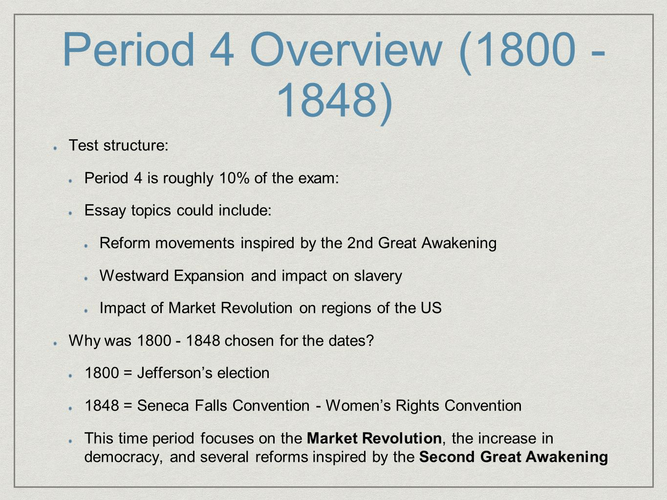 thesis on the second great awakening Both blacks and women began to participate in evangelical revivals associated with the second great awakening at the end of the 18th century from these revivals grew the roots of the both the feminist and abolitionist movements.