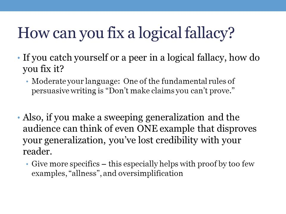 avoid fallacies in thesis statements Long list of logical fallacies  flamboyance-- the manner in which someone speaks can easily draw unwarranted support for a thesis  statements like i really don.