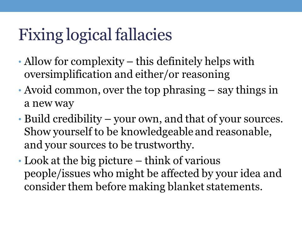logical fallacy essay Fallacies in a commercial essay the logical fallacy of post hoc reasoning is the main base of this advertisement a custom essay sample on fallacies in a commercial.