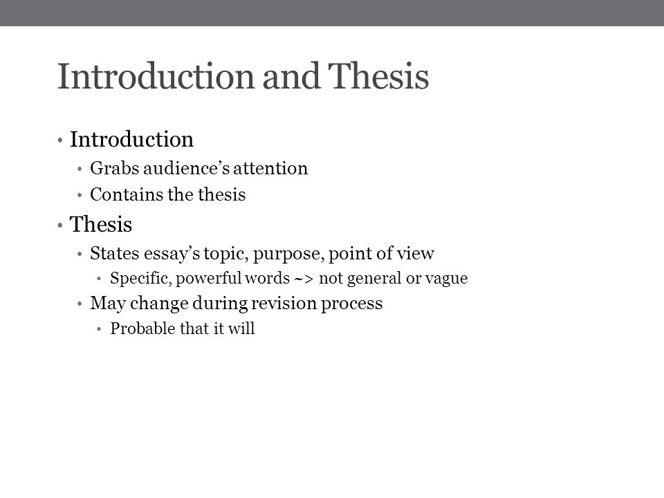 intro to thesis Use the following steps when preparing for the oral defense of your thesis/dissertation 1 introduction (including research question.
