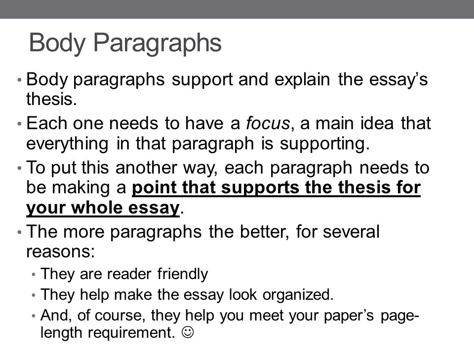 Body paragraph thesis statement