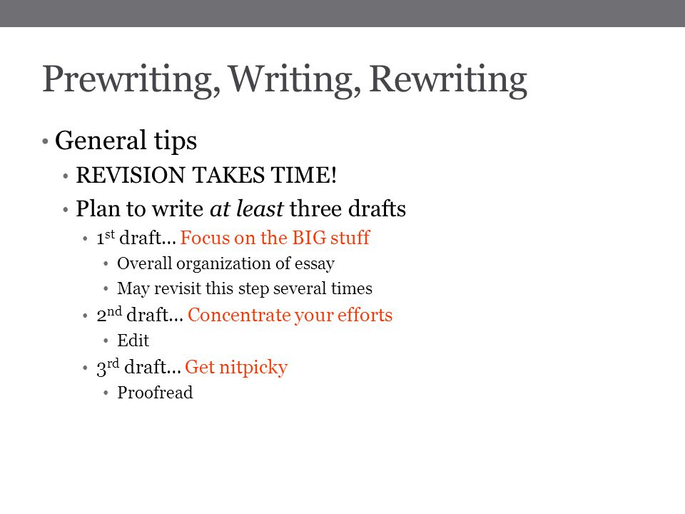 steps for prewriting an essay Prewriting is the first stage of the writing process, typically followed by drafting, revision, editing and publishing [1] [2] [3] prewriting can consist of a combination of outlining , diagramming, storyboarding, clustering (for a technique similar to clustering, see mindmapping .