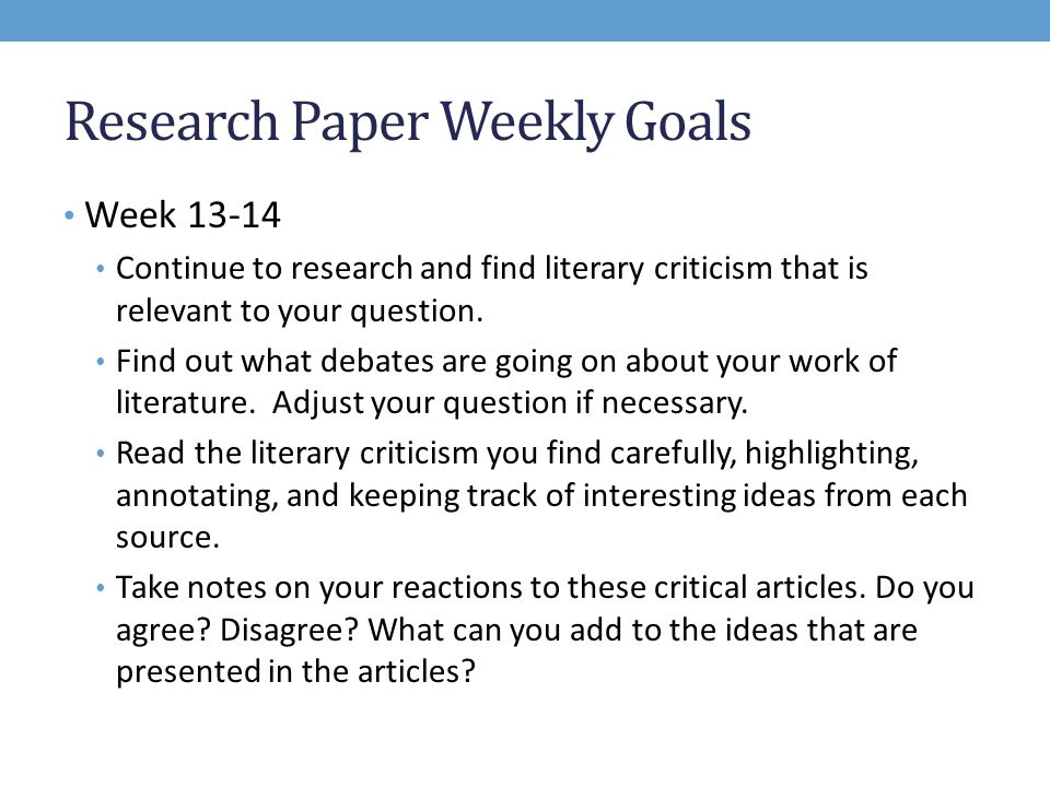 Goals for a research paper