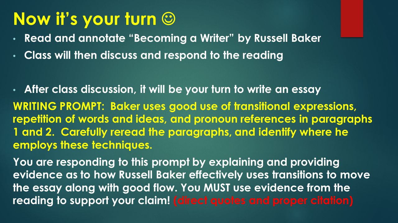 on becoming a writer by russell baker Russell baker, growing up, new york: 1982: 186ff the notion of becoming a writer had flickered off and on in my head since the belleville days, but it wasn't until my third year in high.