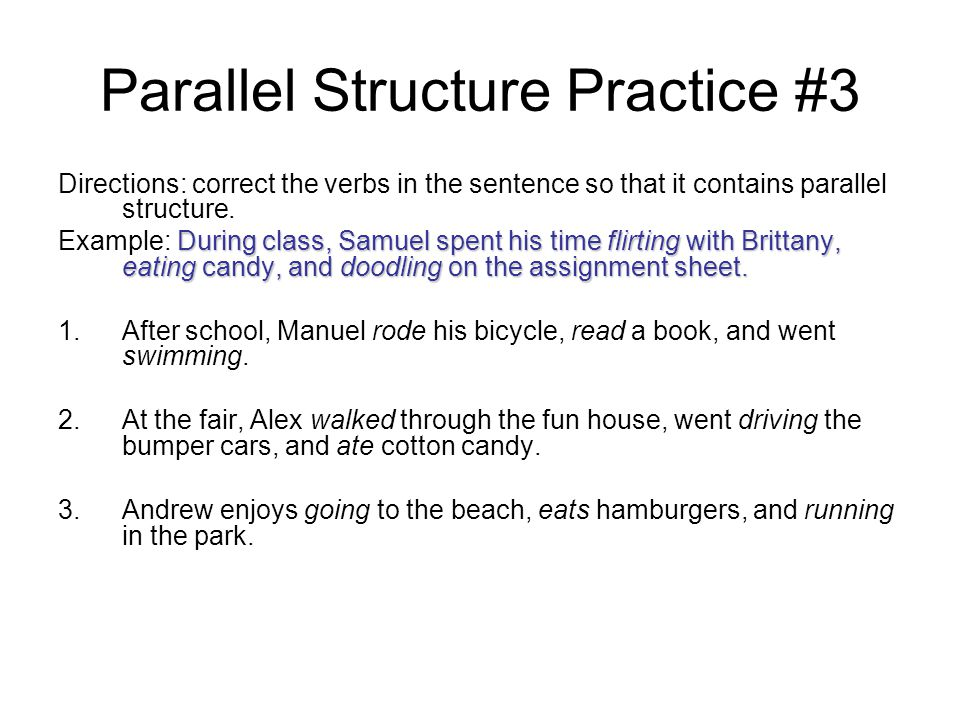 """parallel essay structure Parallel structure & the example essay as we begin the next essay, i wanted to bring up a minor grammatical issue: parallel structure while i say """"minor,"""" i don't mean that it is."""