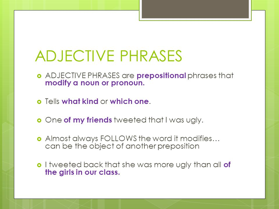 Chapter 16: The Phrase English 12A – Mrs. Krabill. - ppt ...
