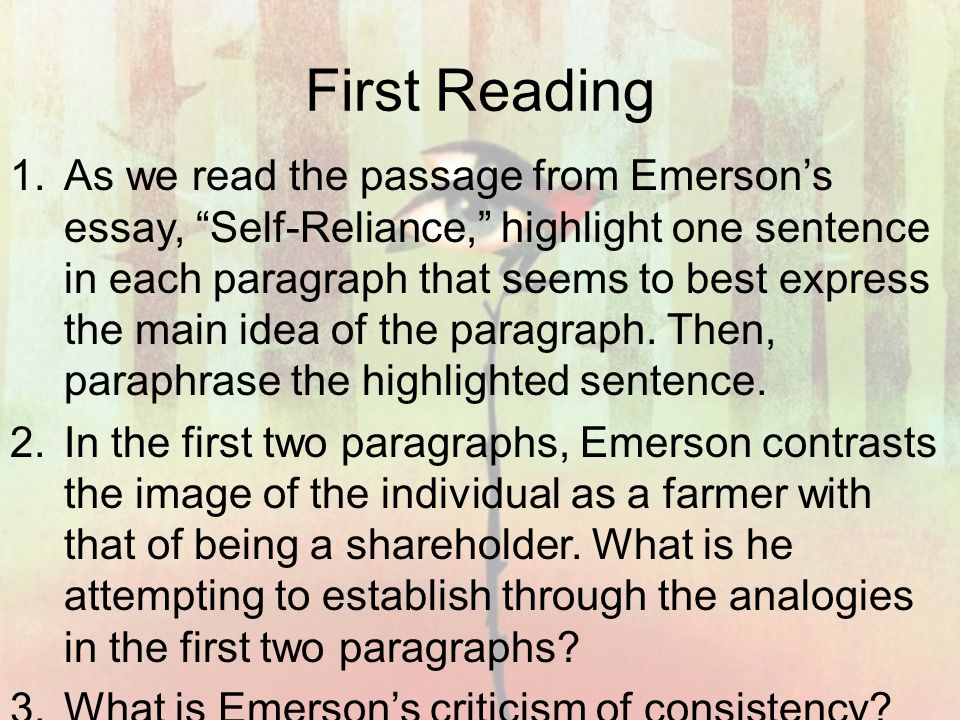 self reliance explanation