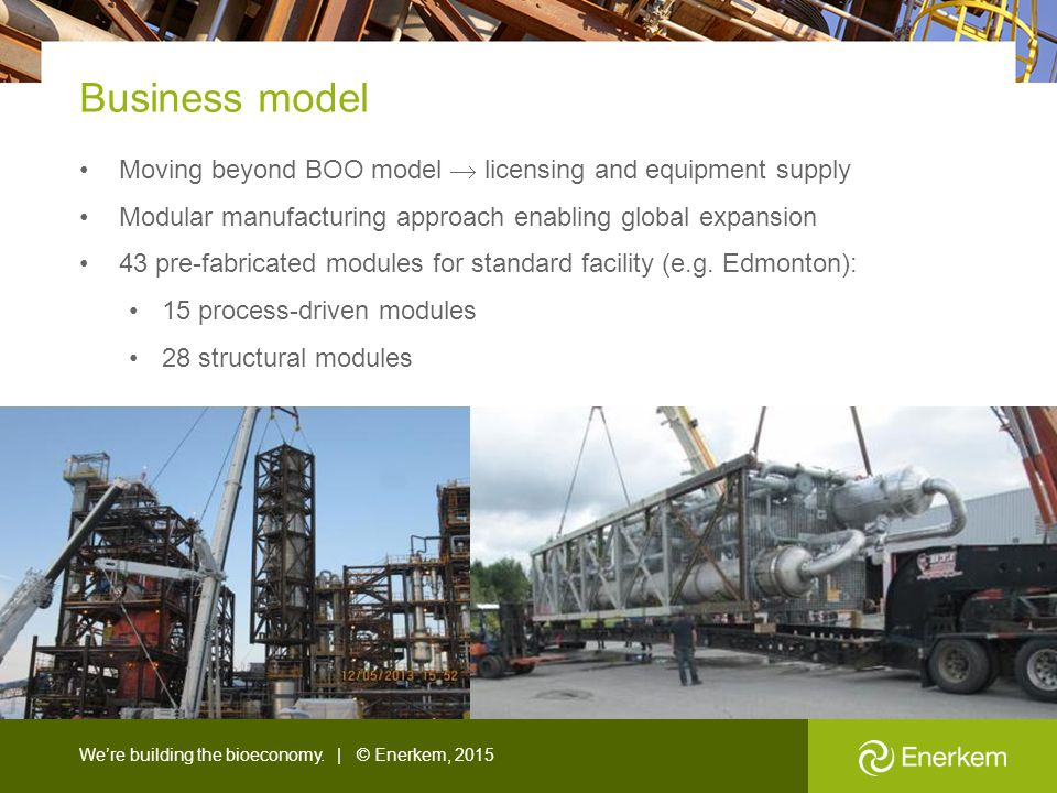 Business model Moving beyond BOO model  licensing and equipment supply. Modular manufacturing approach enabling global expansion.