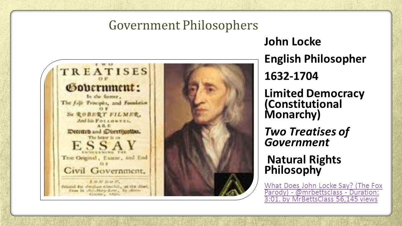 the influence of john lockes philosophy in two treatises of civil government essay John locke's theory of property his major political essay, the second treatise of government and peace' argues that locke's two treatises are of two levels.