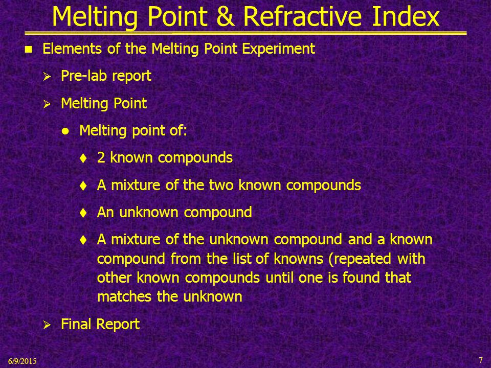 melting point lab report Coefficient of friction lab report 3-chlorobenzoic acid 157 – 158  melting points are ranges it is essential to report the melting point range when.