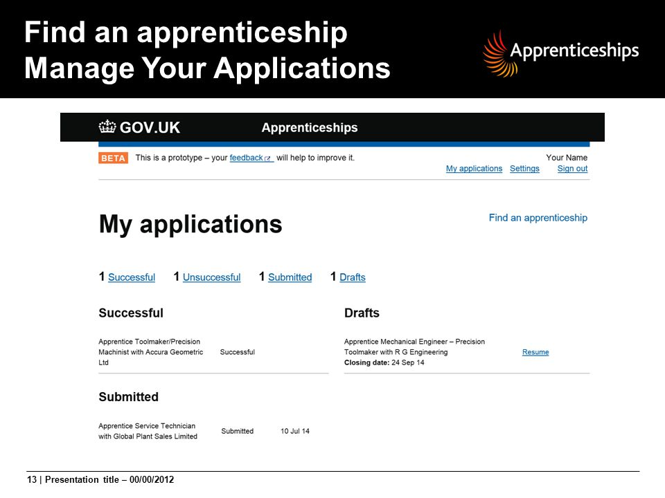 Find an apprenticeship Manage Your Applications