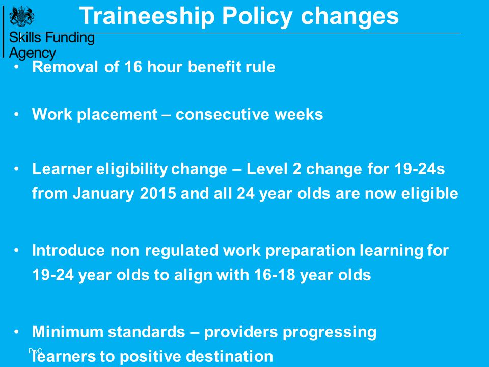 Traineeship Policy changes
