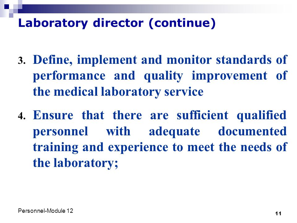 Laboratory director (continue)
