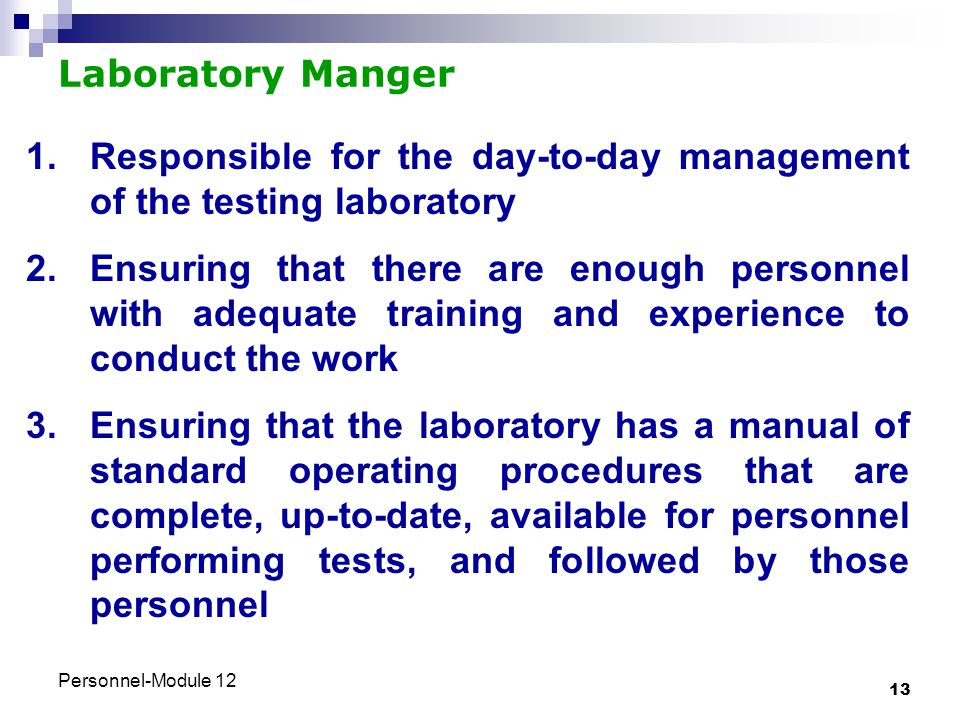 Responsible for the day-to-day management of the testing laboratory