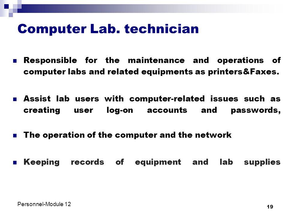 Computer Lab. technician