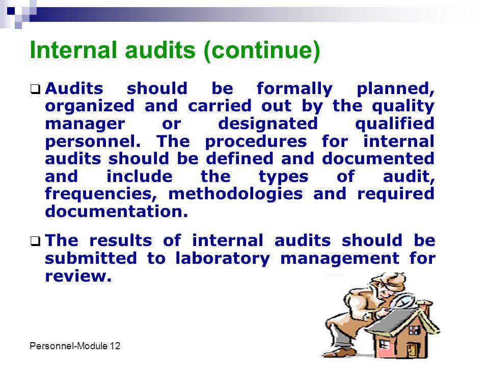 Internal audits (continue)