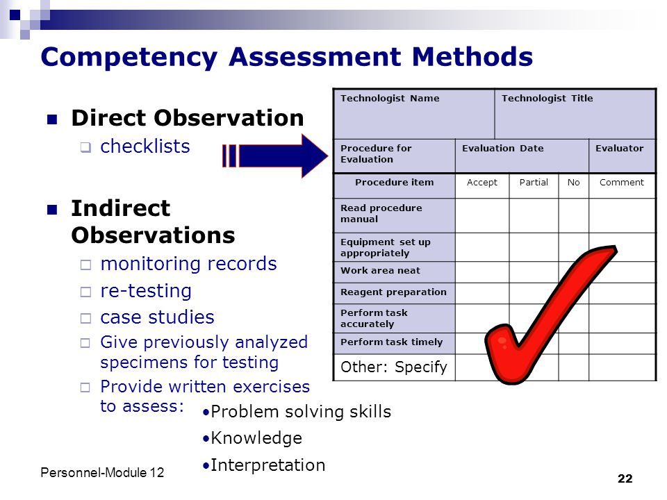 Competency Assessment Methods
