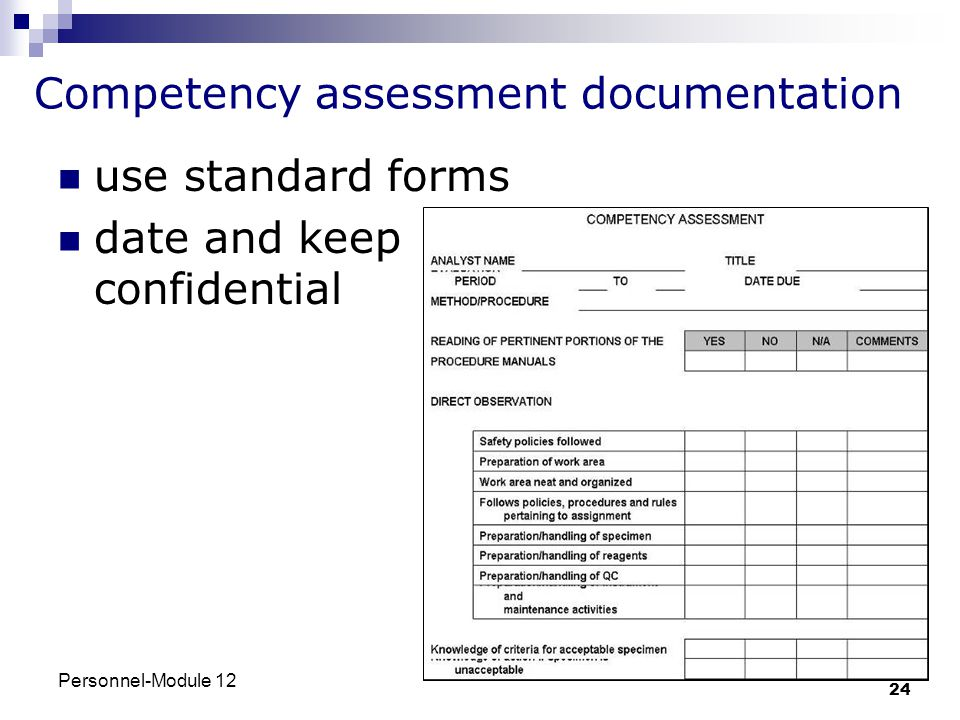 Competency assessment documentation