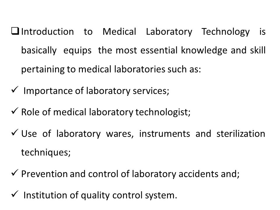 introduction to medical laboratory technology pdf