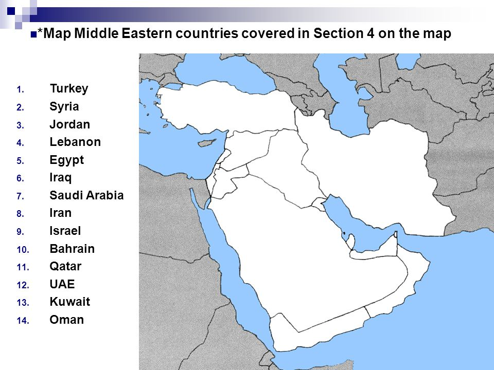 Chapter 31 section 1 main ideas ppt download map middle eastern countries covered in section 4 on the map gumiabroncs Images