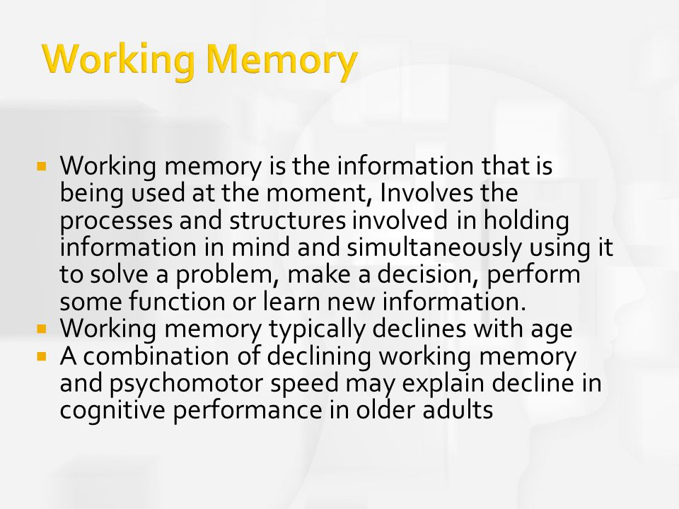 Memory problems adults Working in
